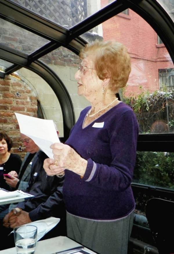Johanna Zürndorfer, 97 years old, addresses visitors from Rexingen in New York.