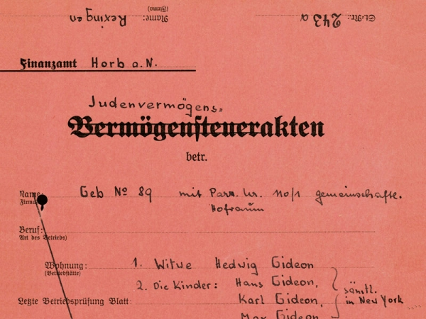 "Exhibition: exclusion, robbery, destruction. NS actors and ""Volksgemeinschaft"" against the Jews in Württemberg and Hohenzollern. 1933 to 1945."